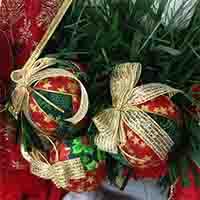 bolas de patchwork para decorar el árbol de navidad